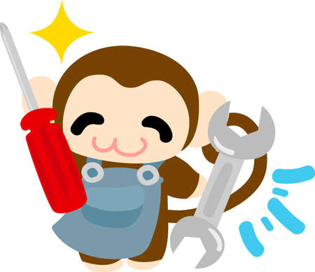 monkey wrench: The pretty little monkey and tools