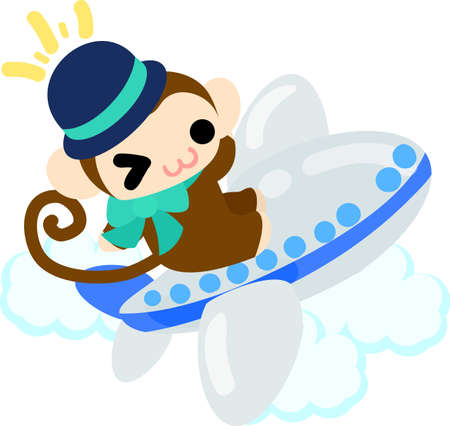 cabin attendant: The pretty little monkey which does the figure of the cabin attendant Illustration