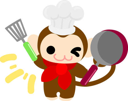little chef: The pretty little monkey which does the figure of the chef