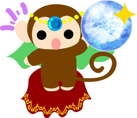 fortune teller: The pretty little monkey which does the figure of the fortune teller