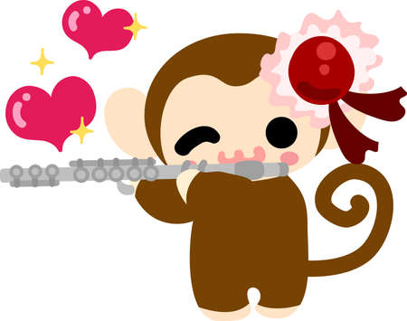 personification: The pretty little monkey and a flute Illustration