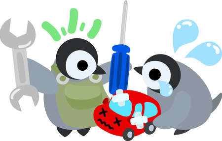 repairer: The pretty penguin babies which does the figure of the repairer Illustration