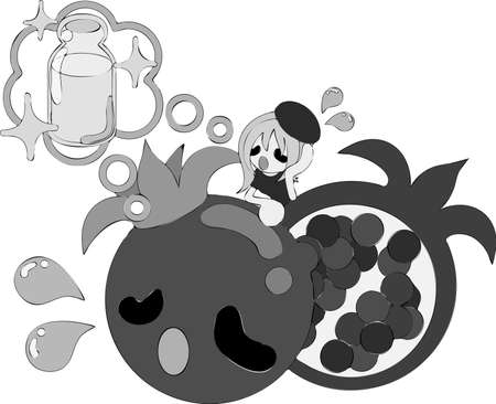 sediento: El estilo de ilustraci�n escrita a mano de una ni�a de sed y de la granada.