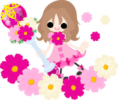 A cute little girl in the flower field and the magic stick of cosmos  イラスト・ベクター素材