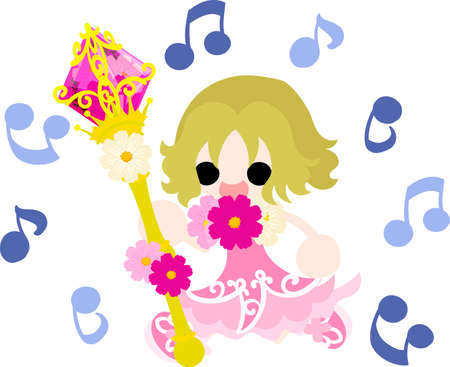 girl singing: A cute little girl singing and the magic stick of cosmos Illustration