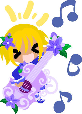 A cute little girl and the guitar of purple flower