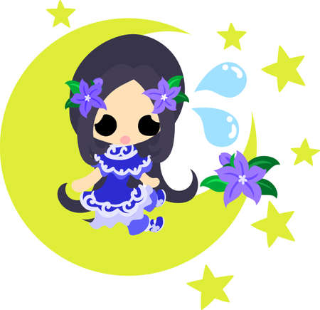 night dress: A cute little girl and the dress of purple flower Illustration