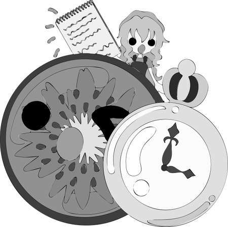The handwritten style illustration of a girl and kiwi fruit having a clock and a memo pad