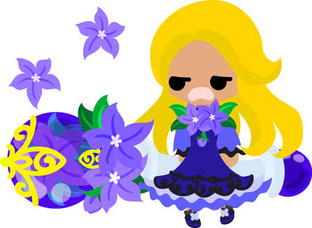 girl in nature: A cute little girl and the jewel of purple flower Illustration
