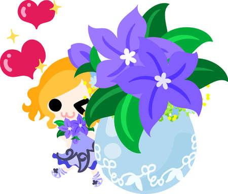 A cute little girl and the flowerpot of purple flower