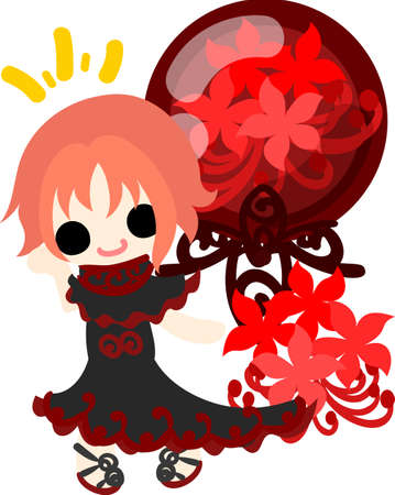 spider lily: A cute little girl and the spider lily and a red crystal Illustration