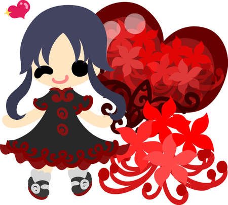 spider lily: A cute little girl and the spider lily and a red heart crystal Illustration