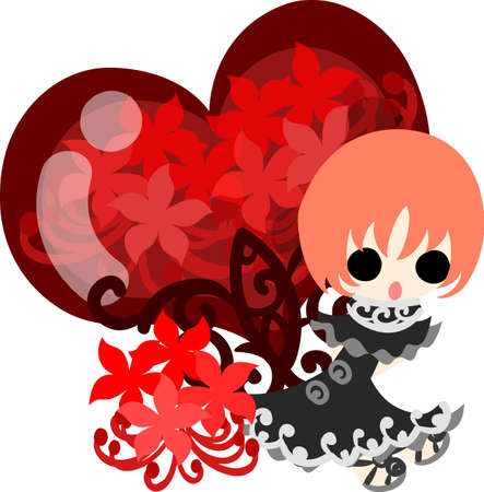 A cute little girl and the spider lily and a red heart crystal Illustration