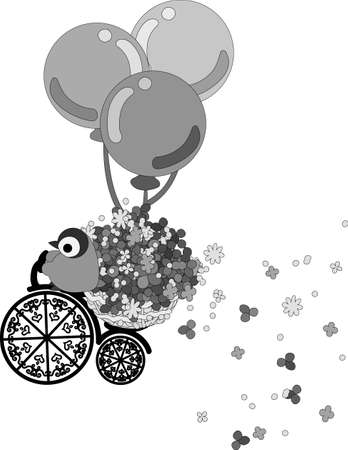 thought balloon: A baby penguin pedals the bicycle with the flower basket, and flowers are dancing. Illustration