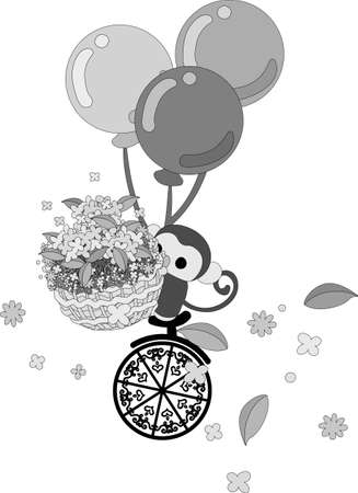 unicycle: Flowers dance on a unicycle a monkey with a flower basket Illustration