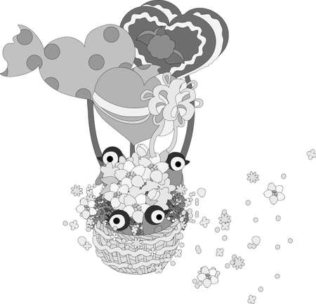 baby seal: Flies of the heart balloon with baby penguins and flowers, and flowers are dancing. Illustration