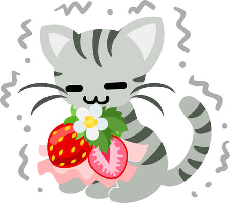 shivering: The shivering pretty little cat and a cute strawberry accessory Illustration