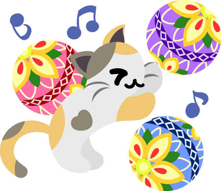 The pretty little cat and stylish ball Illustration