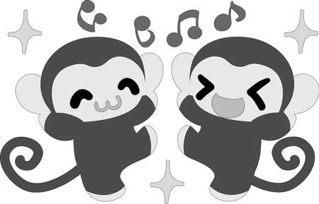 delight: The pretty monkeys are delight each other Illustration