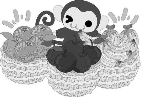 바구니에 담긴 많은 과일들과 예쁜 원숭이