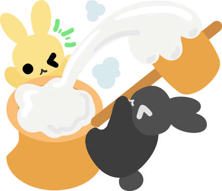 Rabbits are making rice cakes Illustration