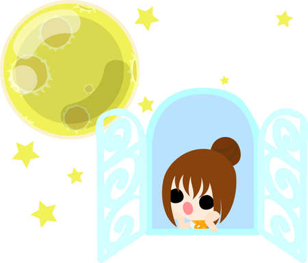 Una bambina sveglia e una notte di luna