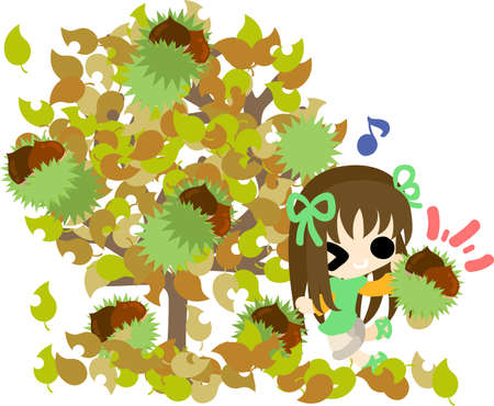 chestnut tree: A cute little girl and a chestnut tree