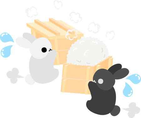 preparations: Cute little rabbits are making preparations for rice cakes Illustration