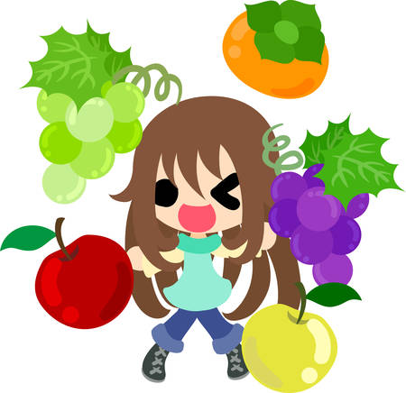 A cute little girl and delicious fruits Illustration