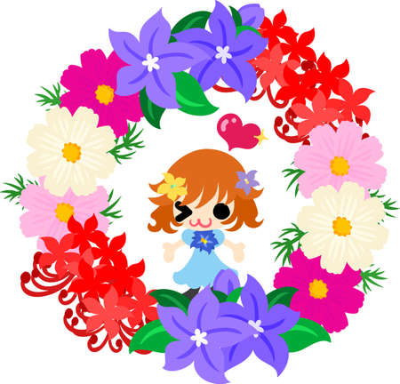 autumn flowers: A cute little girl and a wreath of autumn flowers Illustration