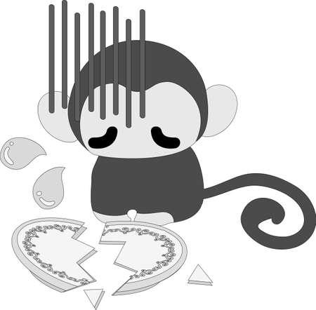 breaks: The pretty monkey is awkward because he breaks a dish Illustration
