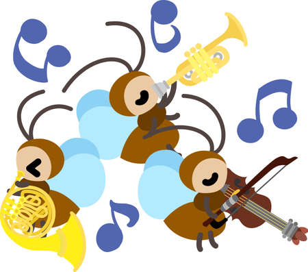 crickets: The concert of bell crickets Illustration