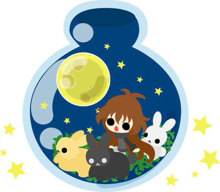 message bottle: A cute little girl and rabbits at a moon night Illustration