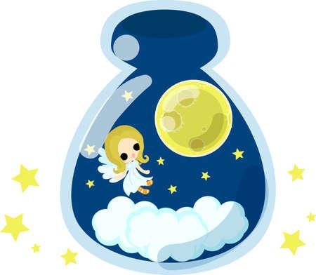 moon angels: A cute little angel and beautiful moon