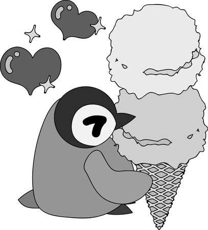 A pretty penguin baby eats a delicious ice-cream