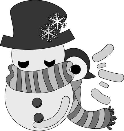A pretty penguin baby and a big snowman Illustration