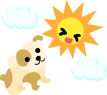 cute dog: The cute dog and sun Illustration