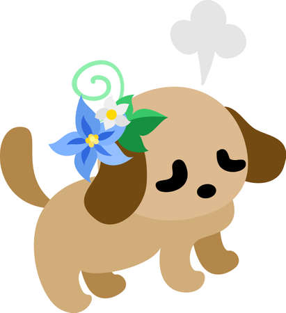accessory: The cute dog and a flower accessory