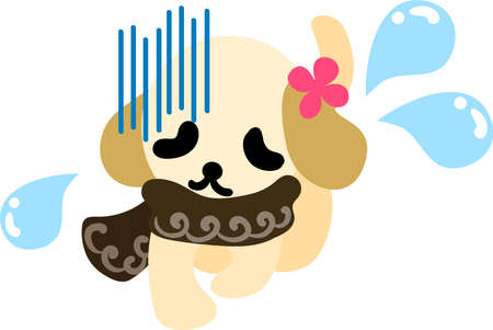 muffler: The cute dog with a blown muffler is troubled face Illustration