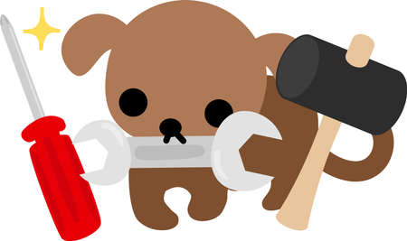 cute dog: The cute dog and tools