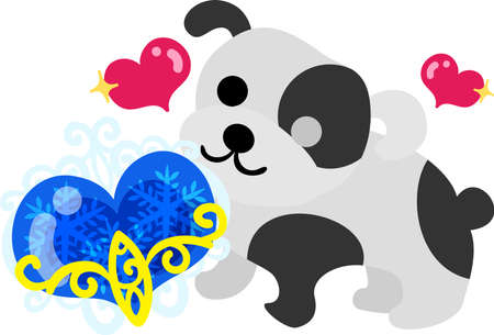 The cute dog and a mysterious jewel Illustration