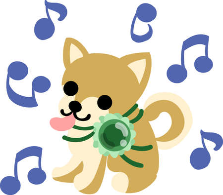The  singing cute dog and a stylish necklace