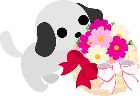 flower basket: The cute dog and a flower basket