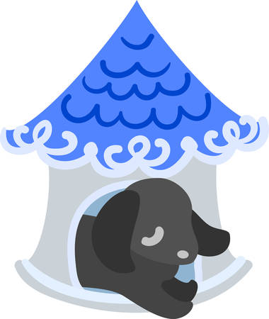 doghouse: The cute dog and a doghouse of a blue roof