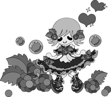 raspberry dress: The illustration of the girl in the raspberry dress Illustration