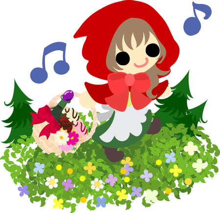 cowl: Illustration of a pretty red cowl girl