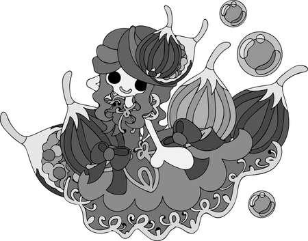 My original illustration of the girl in the fig dress Illustration