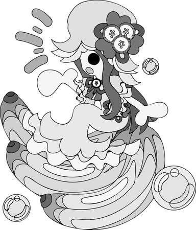 My original illustration of the girl in the banana dress