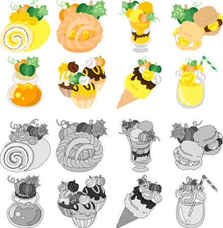 cream pie: A roll and a pie and parfait and a cream puff and jam and cupcake and ice cream and juice of pumpkin Illustration