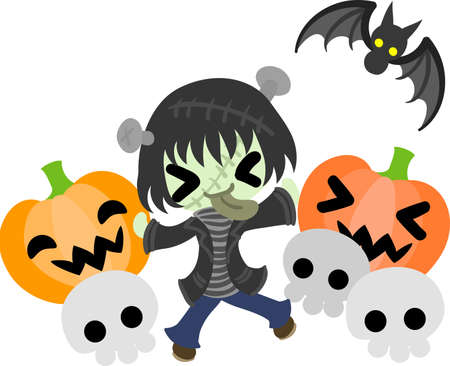 Halloween and jack-o-lanterns and Frankenstein